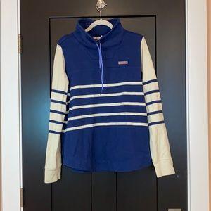 Vineyard vines cowl neck navy striped sweatshirt